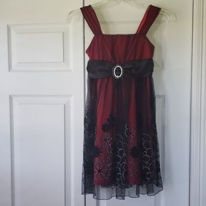 Amy Byer Red with black overlay dress